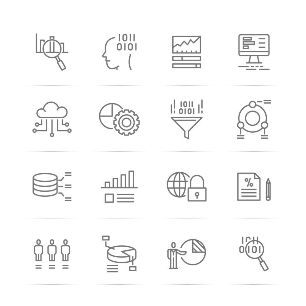 icone di linea del vettore di analisi dei dati