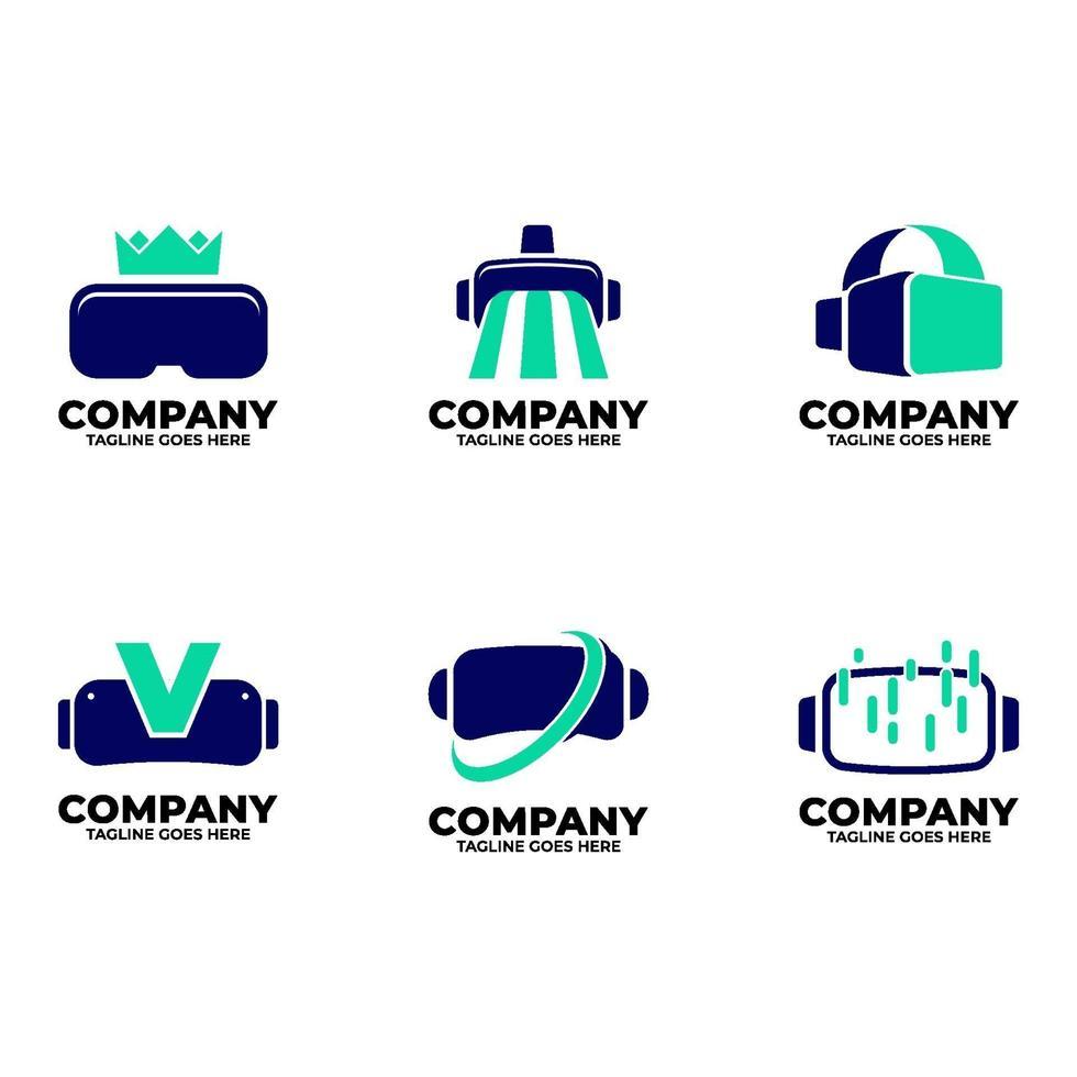 logo virtuale impostato con colore blu vettore