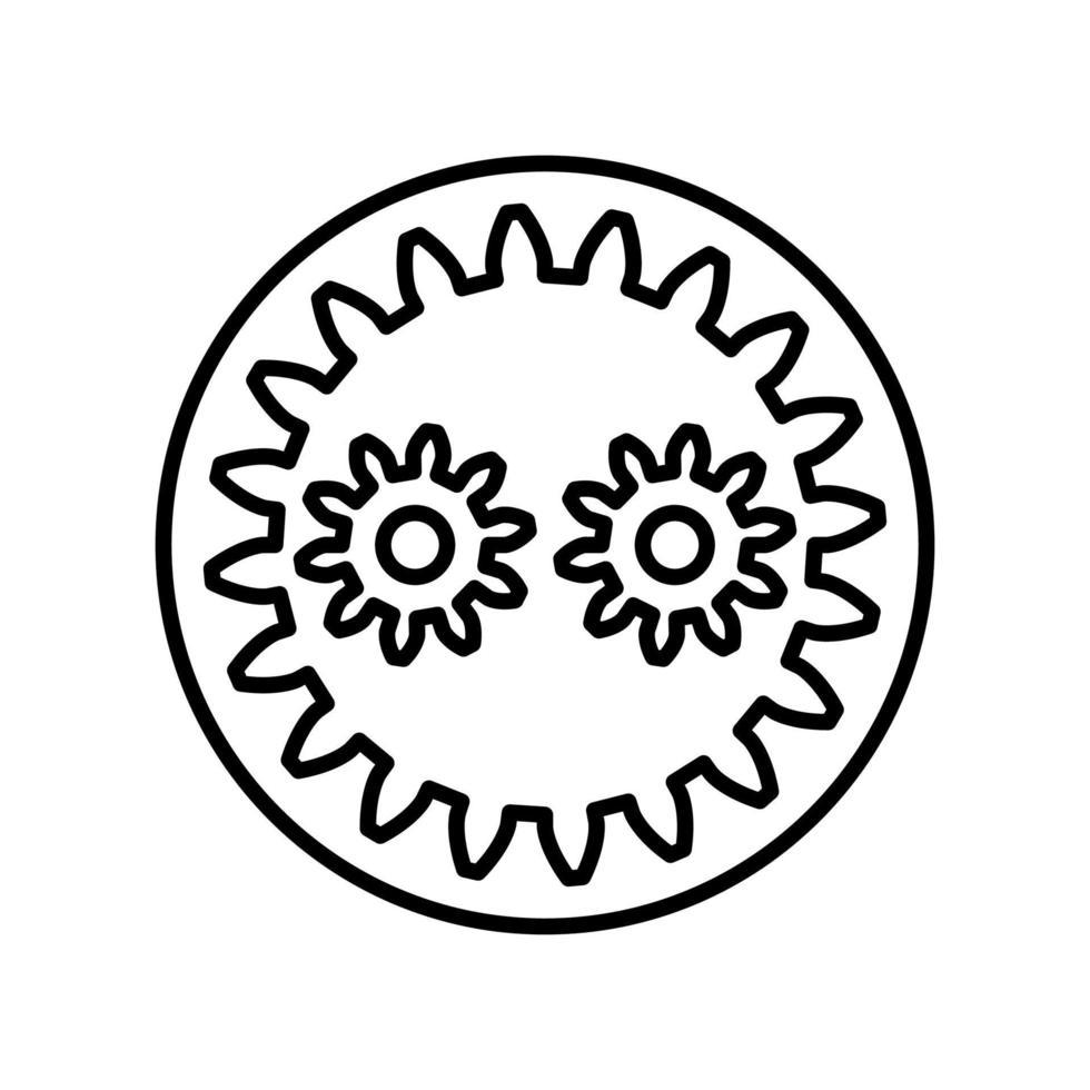 icona di contorno ingranaggio planetario. elemento vettoriale in bianco e nero dal set, dedicato alla scienza e alla tecnologia.