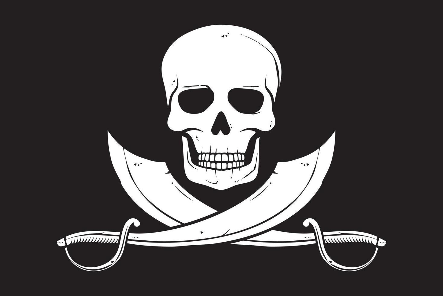bandiera pirata teschio e sciabole incrociate illustrazione vettoriale