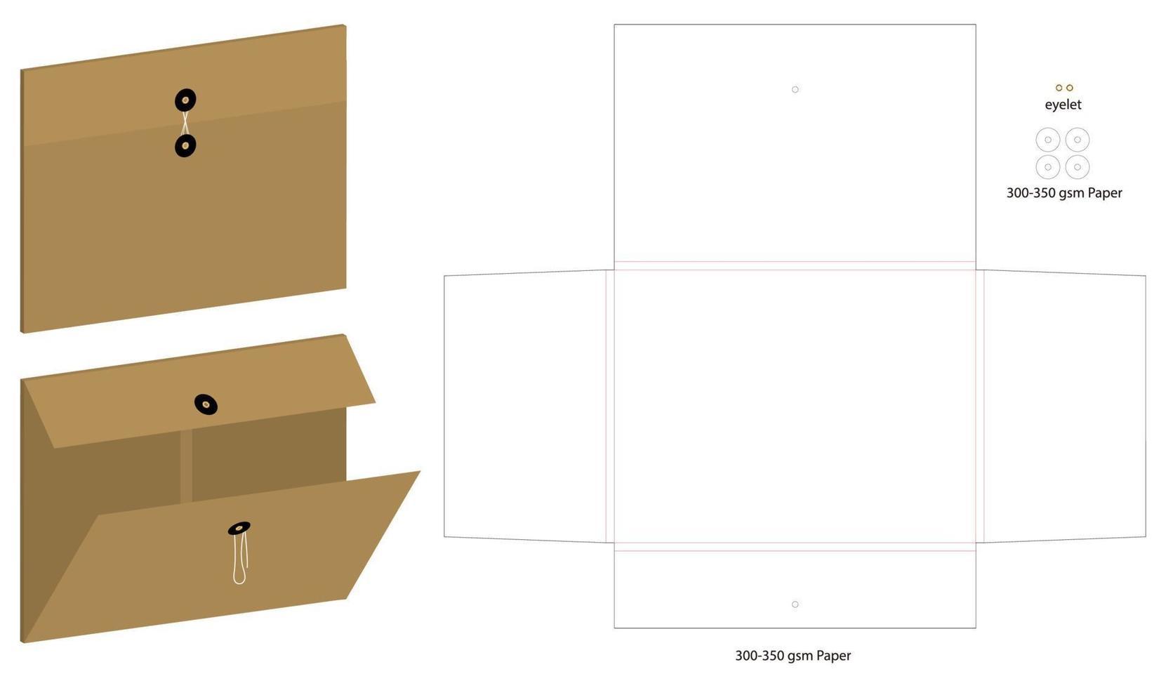 mockup di cartella documenti a4 orizzontale con dieline vettore