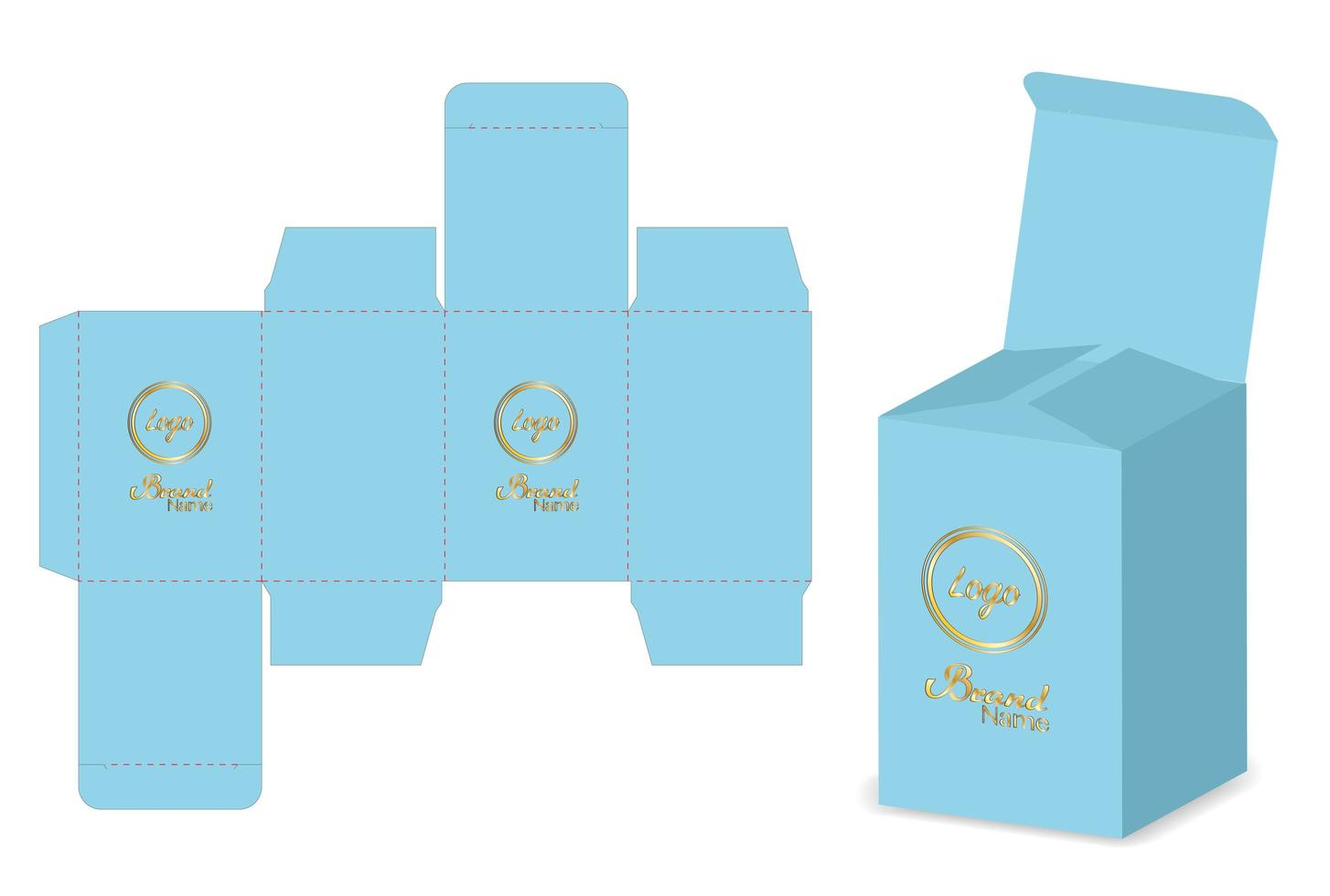 disegno del modello fustellato di imballaggio della scatola. Modello 3d vettore