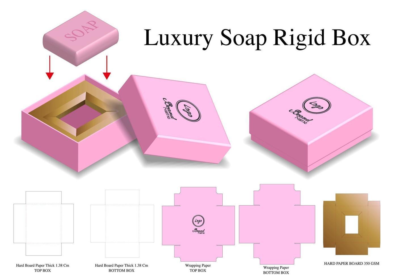 scatola rigida per mockup di sapone con fustella vettore