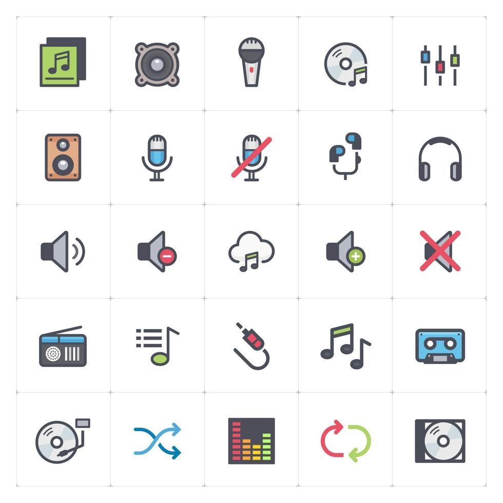 linea vocale e audio con icone a colori. Illustrazione vettoriale su sfondo bianco.