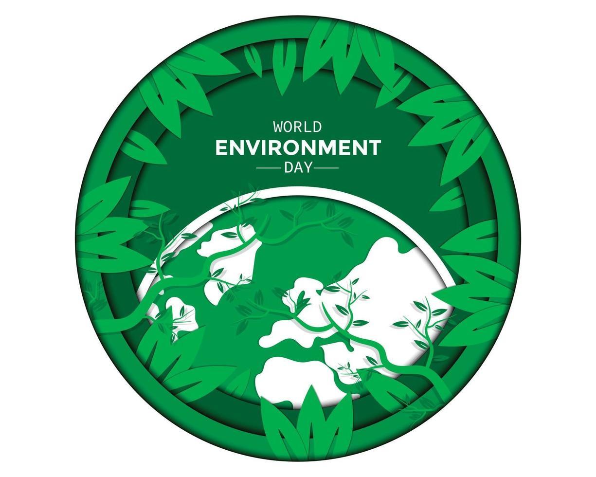 giornata mondiale dell'ambiente con foglia vettore