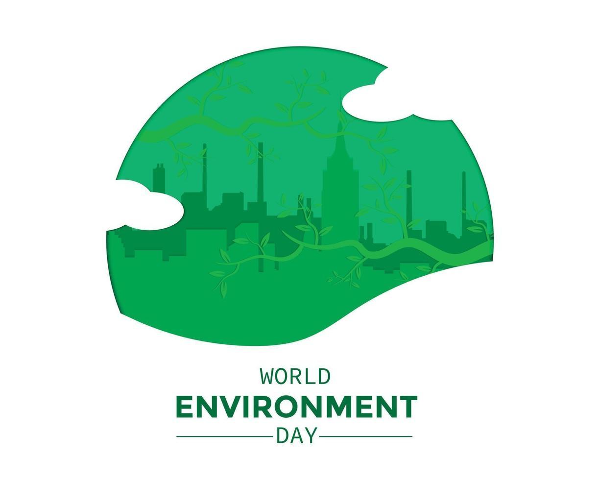 giornata mondiale dell'ambiente con il paesaggio della città vettore