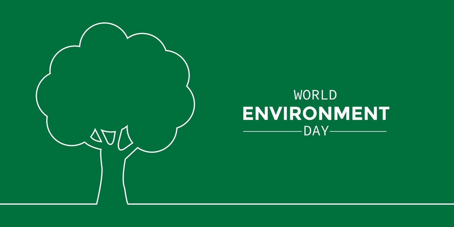 albero linea semplice giornata mondiale dell'ambiente vettore