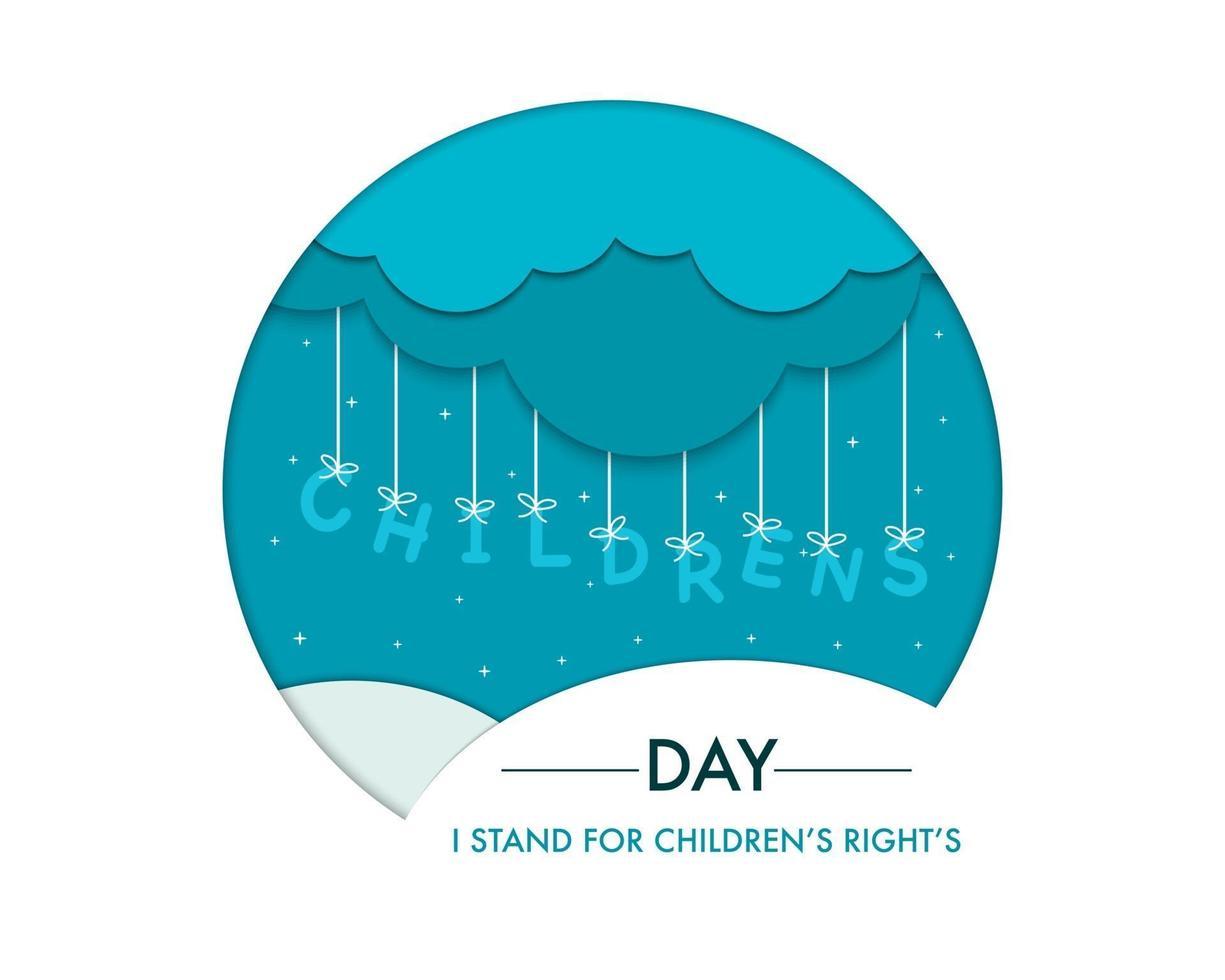arte di carta per la giornata mondiale dei bambini vettore