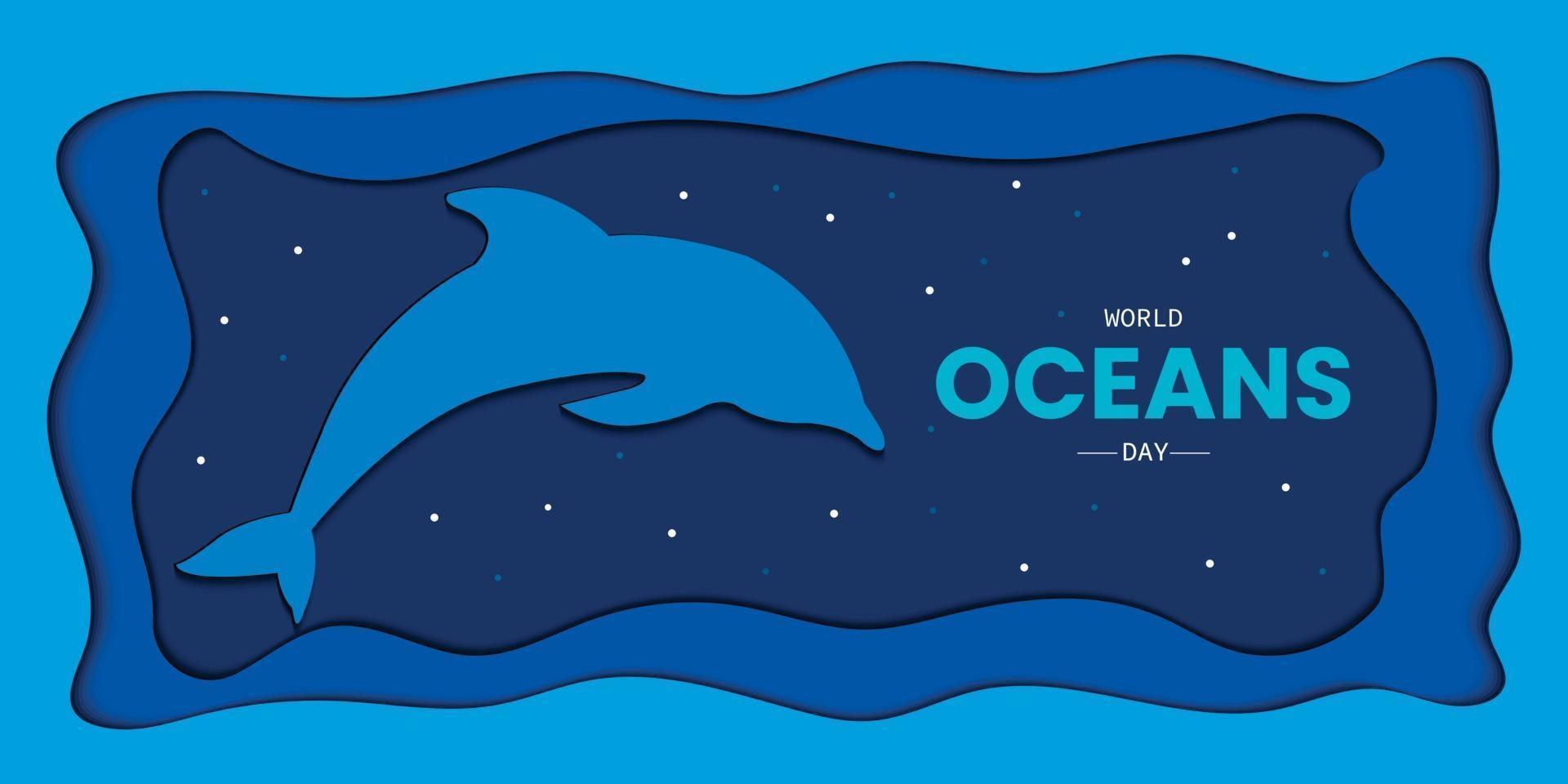 stile papercut della giornata mondiale degli oceani vettore