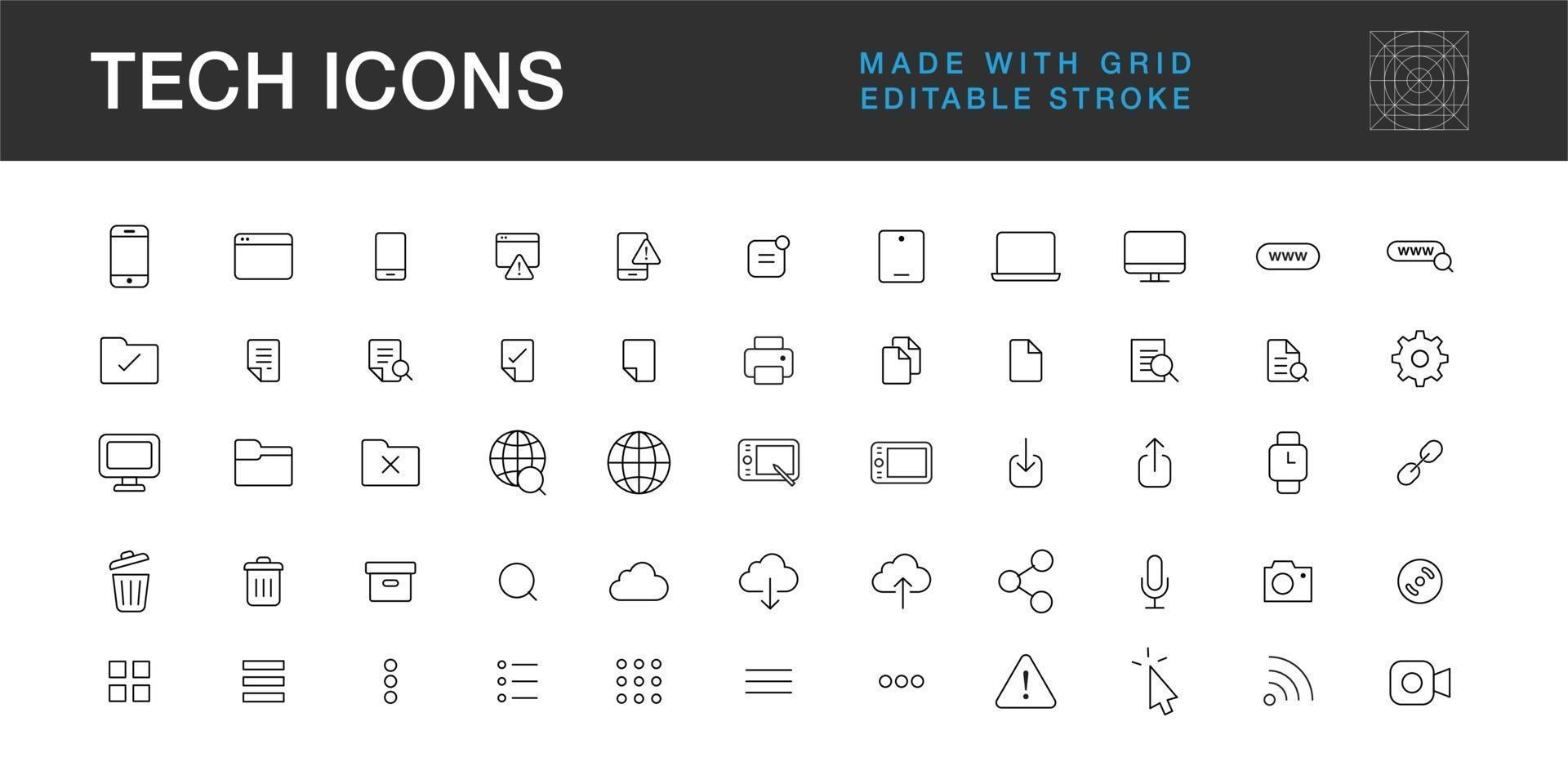 pacchetto di icone di tecnologia, simbolo di Internet di computer mobile di comunicazione e raccolta di loghi vettore
