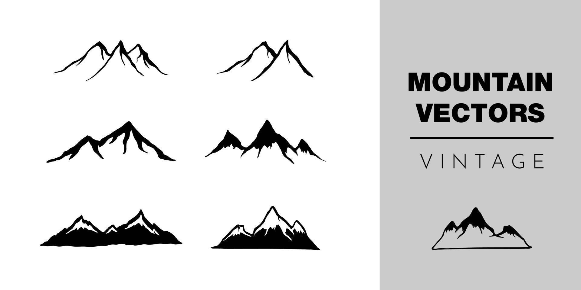 raccolta di vettore di montagna vintage, illustrazioni di sagoma icona
