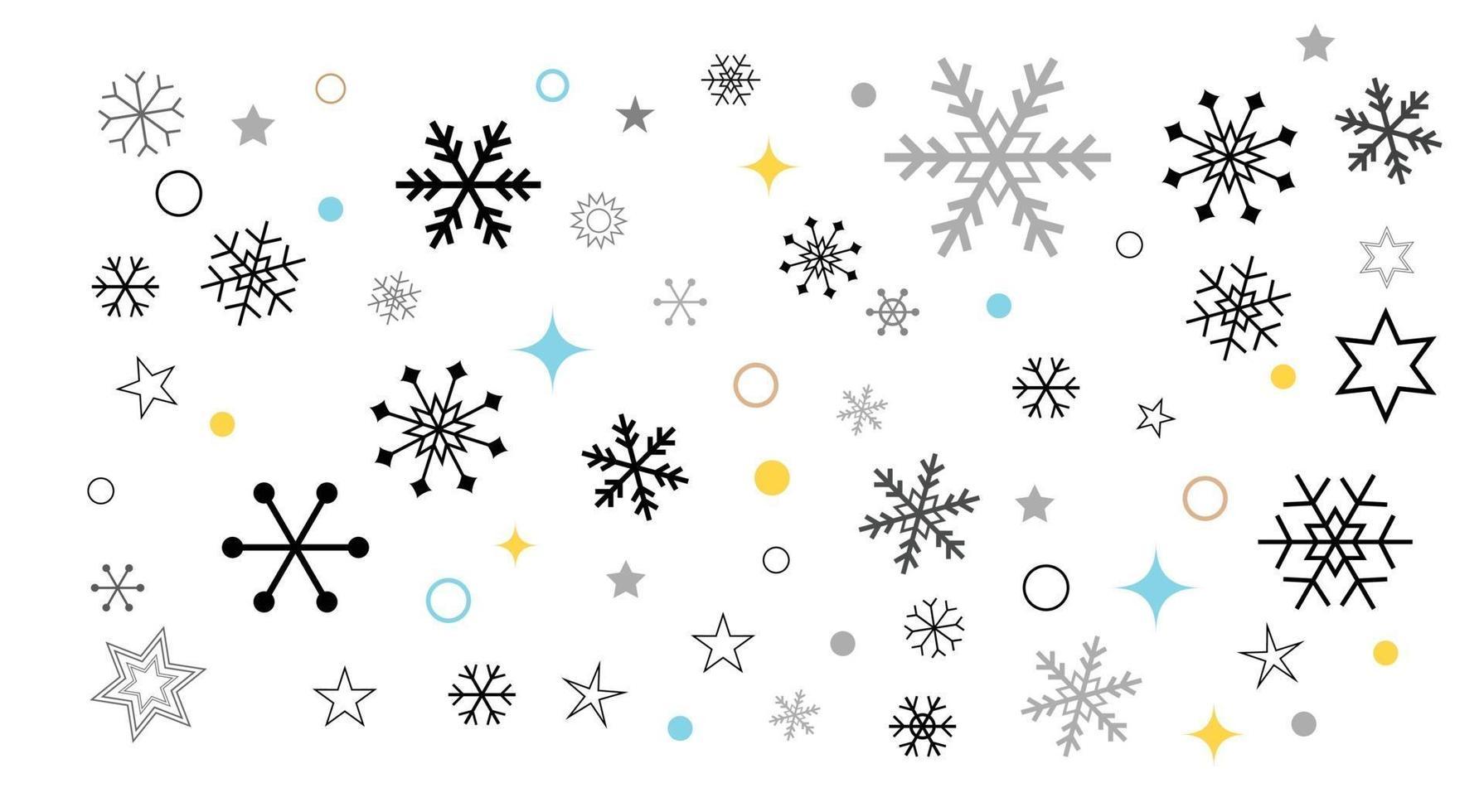 elementi di neve stelle scintille di ghiaccio e raccolta di vettore di coriandoli bokeh