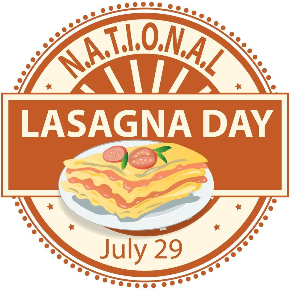 segno della giornata nazionale delle lasagne vettore