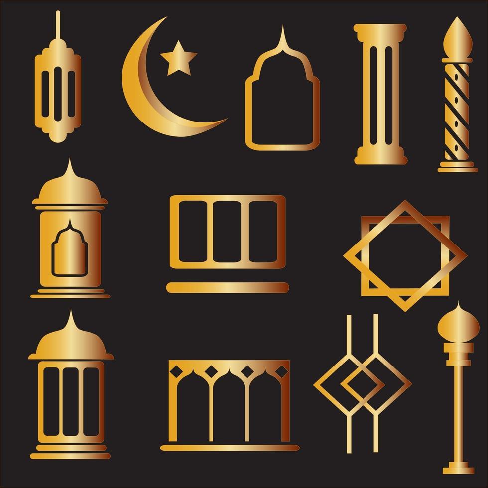 set di ornamenti islamici vettore