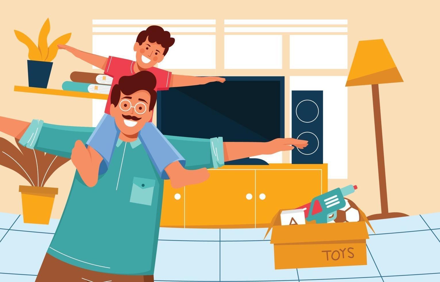 concetto di padre e figlio felice vettore