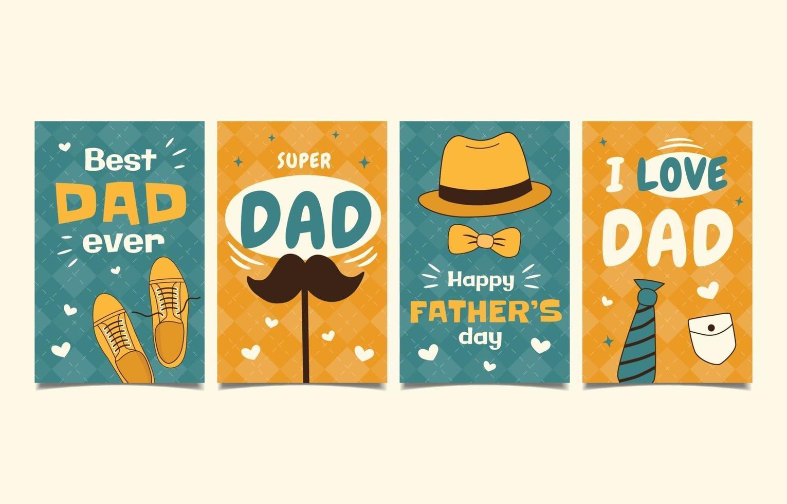 insieme disegnato a mano della cartolina d'auguri di festa del papà vettore