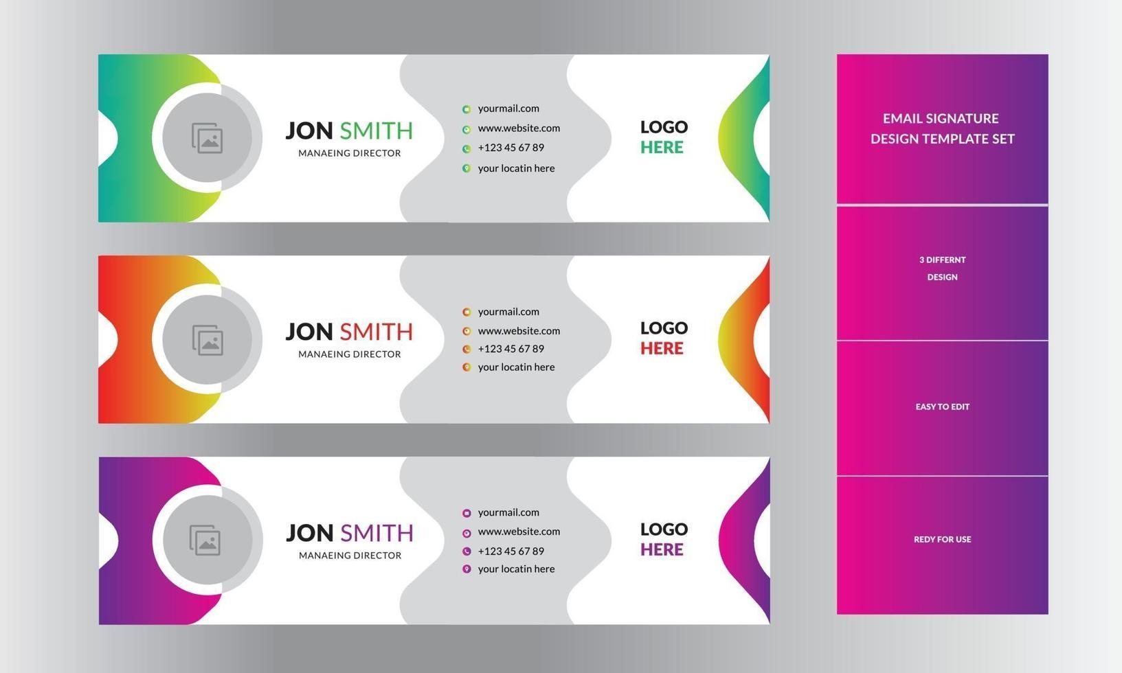 modello di progettazione della posta del modello di firma di posta elettronica professionale aziendale vettore