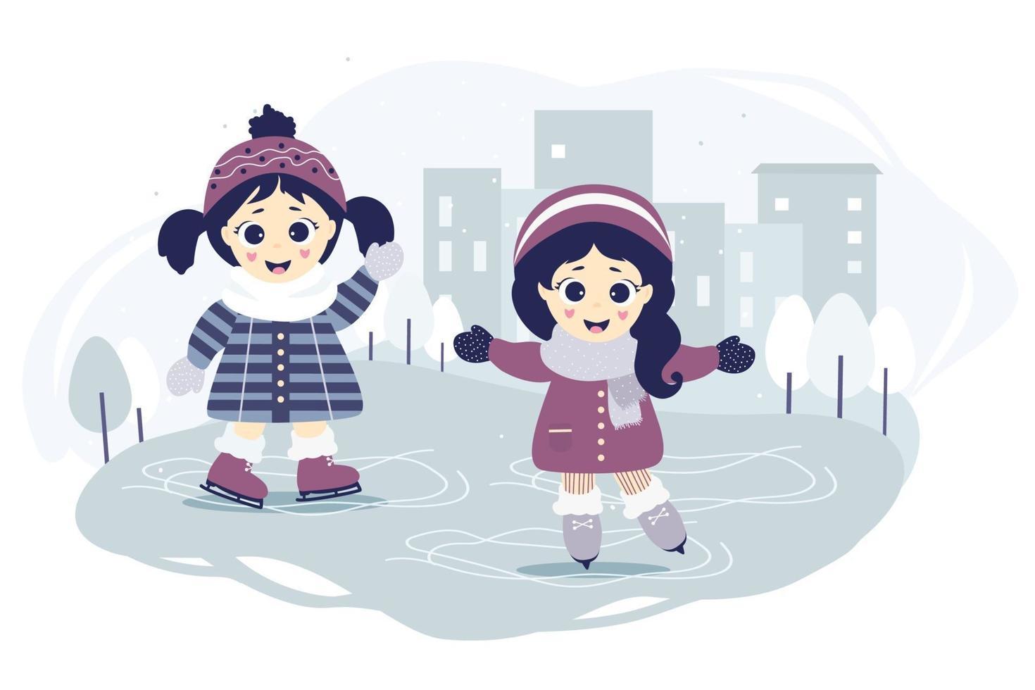 ragazze felici pattinaggio su ghiaccio vettore