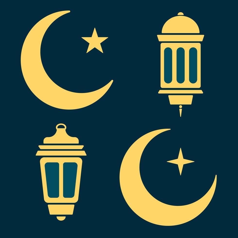 lanterna di ramadan, luna e stelle in bianco e nero. vettore
