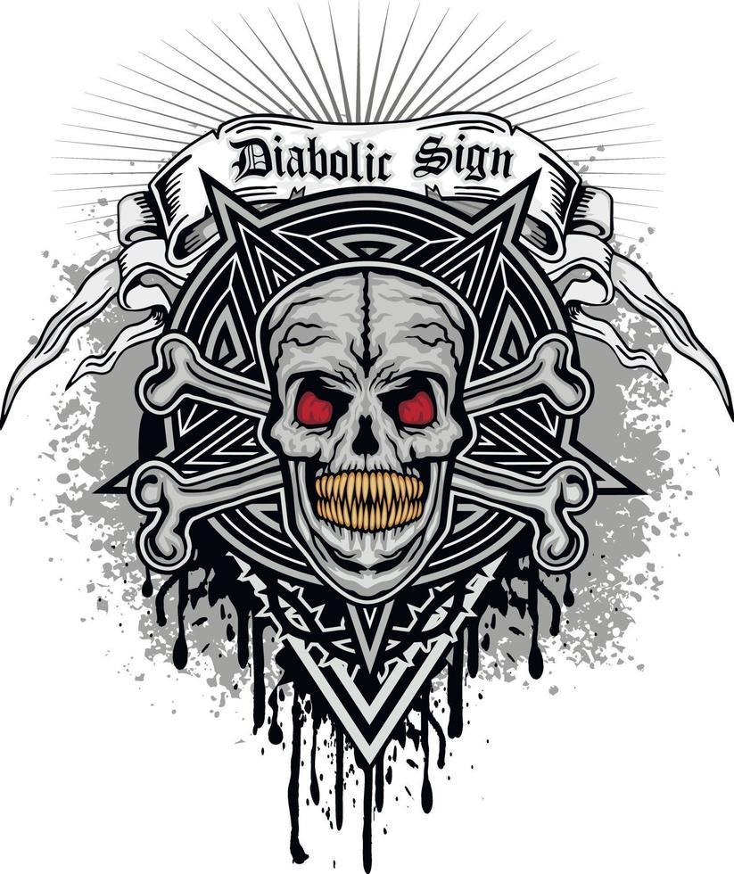 segno gotico con teschio e pentagramma, design vintage grunge vettore