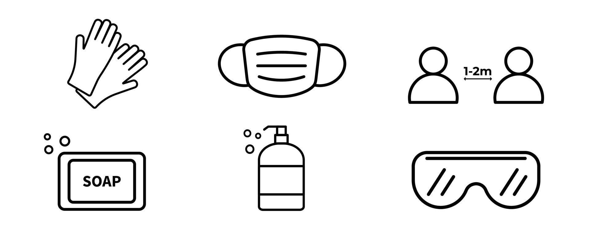 icone vettoriali di attrezzature di protezione personale