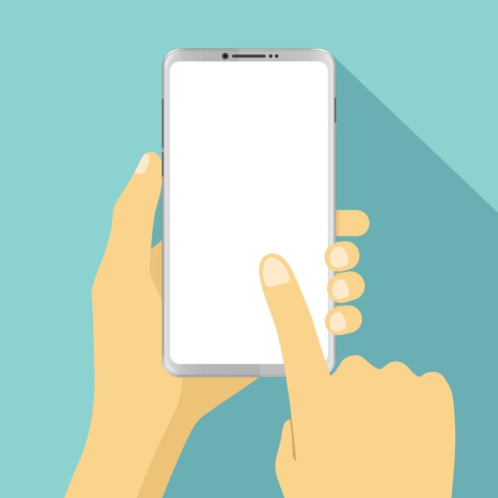 mano che tiene smartphone e tocco delle dita con schermo bianco vuoto vettore