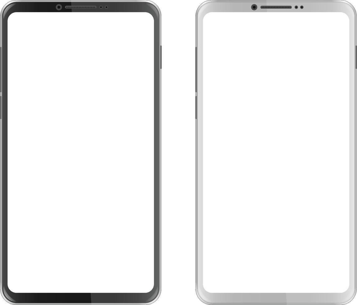 smartphone in bianco e nero con schermo vuoto vettore