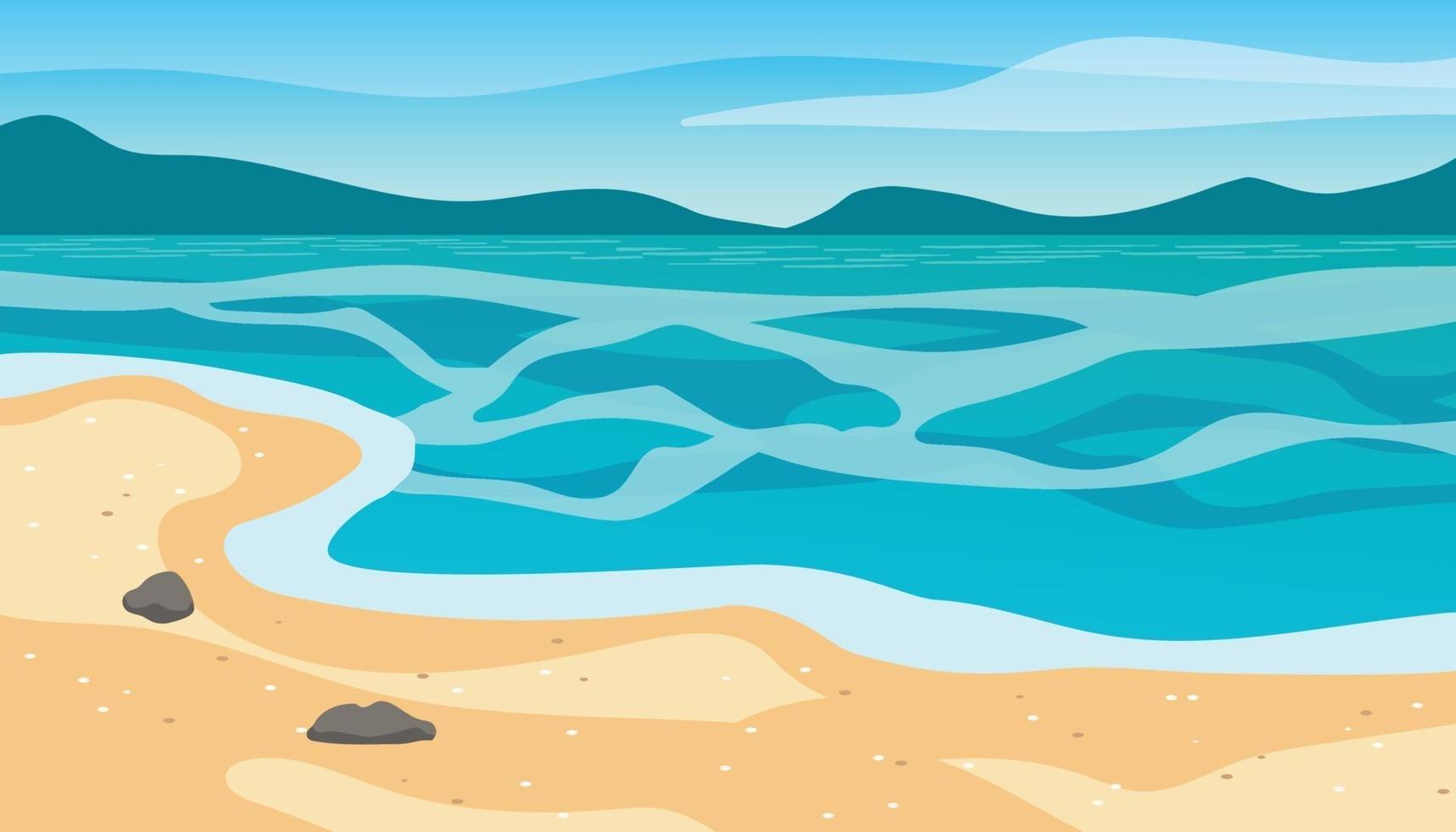 illustrazione del paesaggio estivo spiaggia vettore