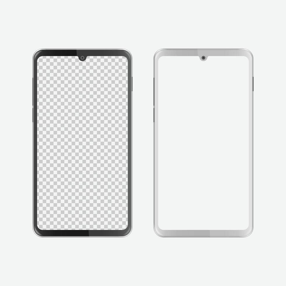 smartphone con notch a goccia d'acqua in bianco e nero con schermo vuoto vettore