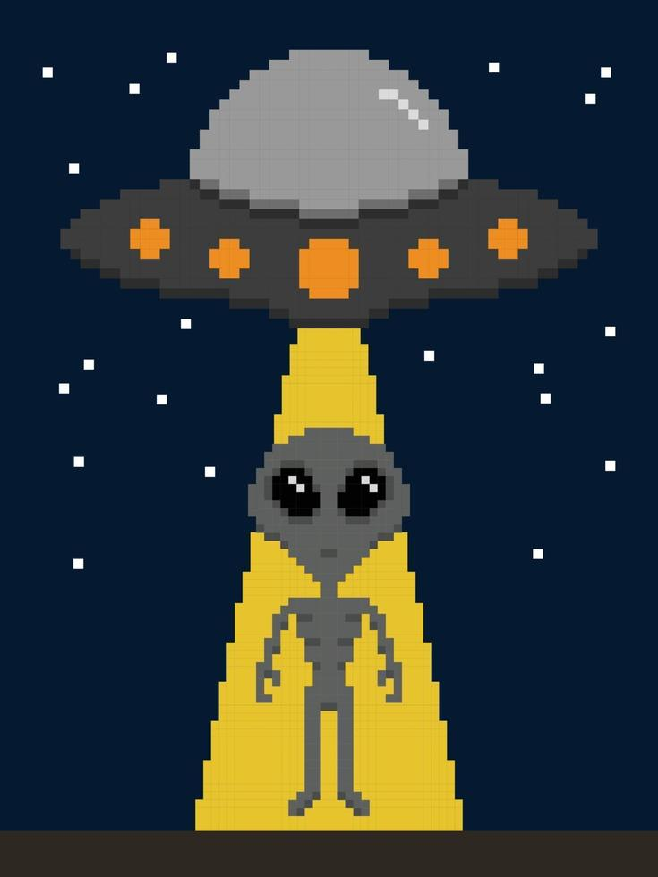 pixel art invasione aliena sulla terra vettore