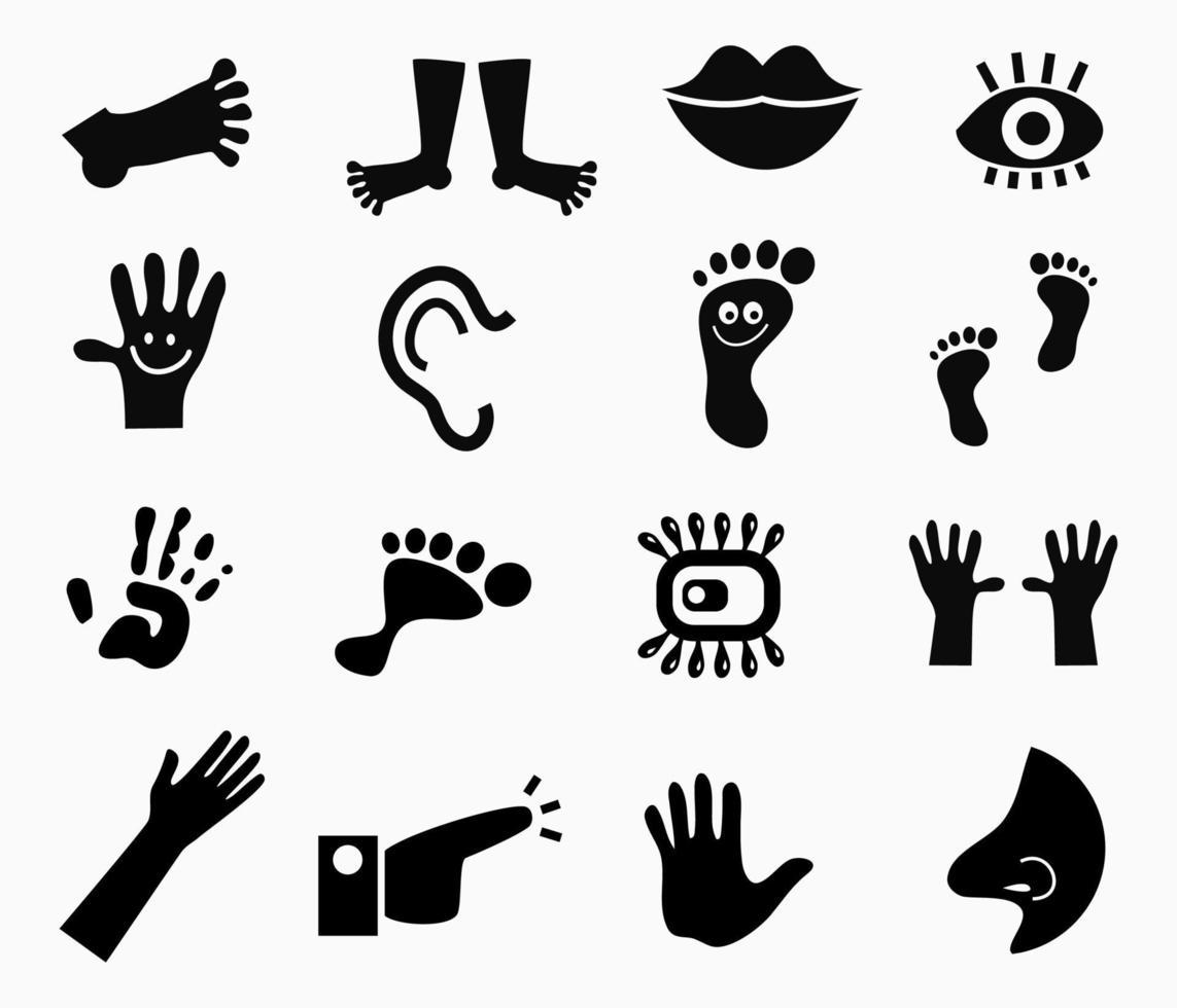 set di icone semplice anatomia umana vettore
