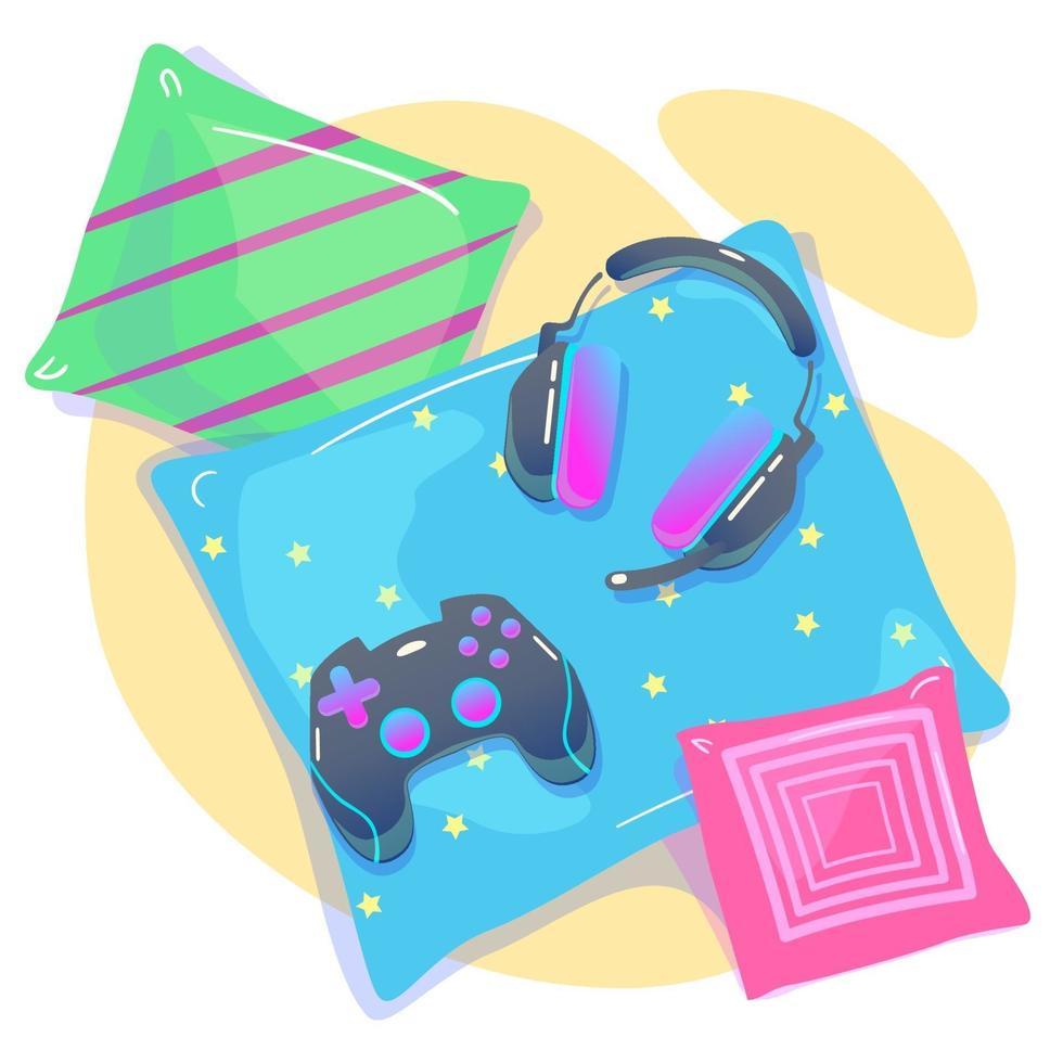 sfondo di videogiochi con joypad, cuffie. concetto di social geek, hobby, passatempo, dipendenza da dispositivi, utilizzo di gadget. casa da gioco accogliente con cuscini in stile piatto. illustrazione vettoriale isolato su bianco