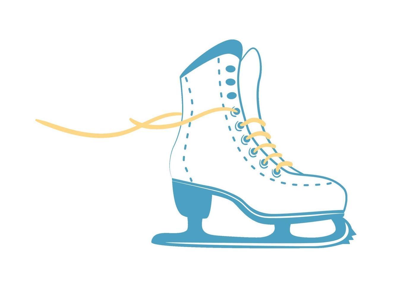 pattini da ghiaccio con lacci luminosi. pattino di figura classico bianco in stile linea. logo di attrezzature sportive. vista laterale. illustrazione vettoriale isolato su sfondo bianco.