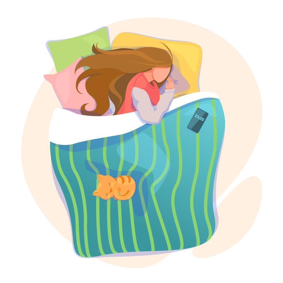 donna che parla a letto con telefono e gatto, illustrazione di andare a dormire accogliente. modello di tracker sveglia del ciclo del sonno. concetto di ritmi circadiani. buona notte e sogni d'oro. vettore isolato su sfondo bianco.