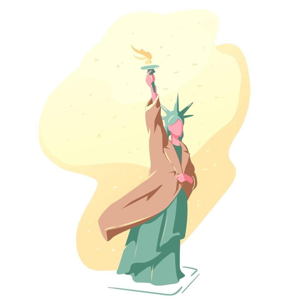 progetto coat drive. statua della libertà in inverno in un cappotto. sfondo di neve calda nell'illustrazione di new york. carità prima del concetto di natale. izolated su bianco. vettore