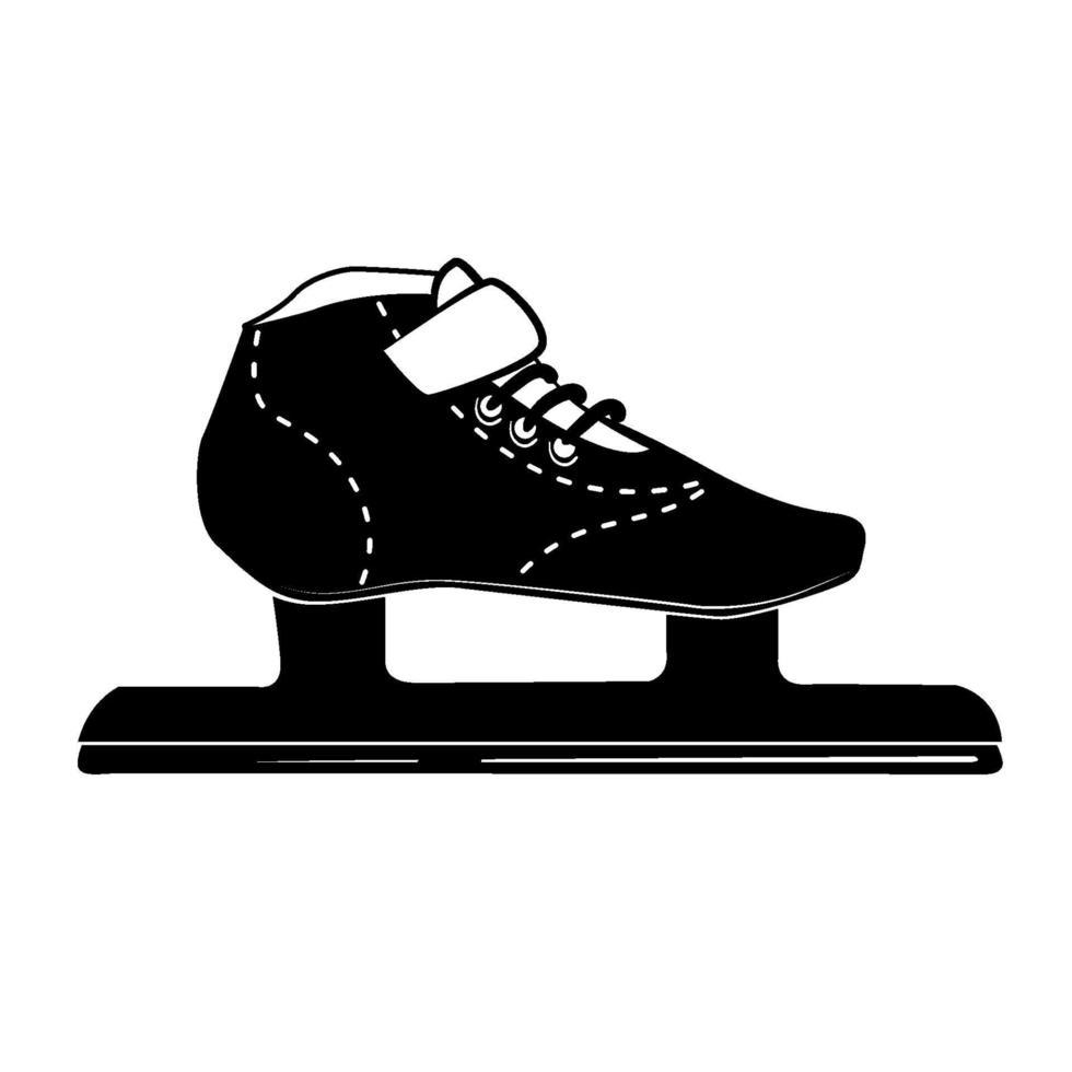 icona del glifo con pattinaggio da corsa, attività invernale e sport, segno di pattino da ghiaccio con logo nero, modello solido isolato su sfondo bianco, vettore