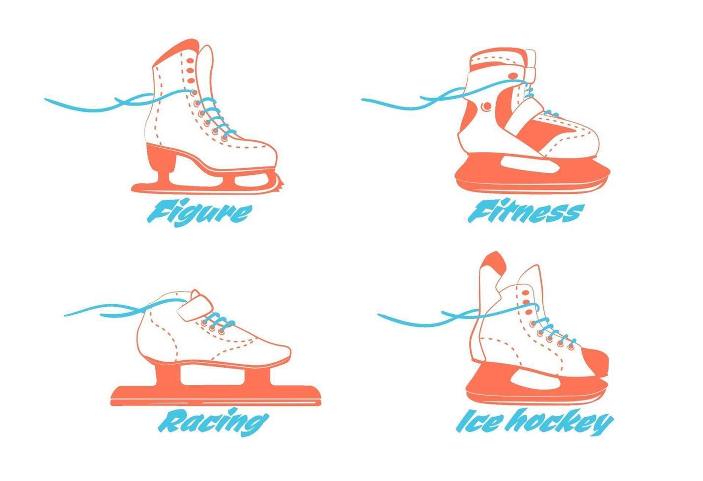 set di diversi pattini da ghiaccio - figura, fitness, corsa, hockey. tipo di scarponi da pattinaggio sul ghiaccio. logo di attrezzature per sport invernali in colori vintage. illustrazione vettoriale isolato su sfondo bianco.