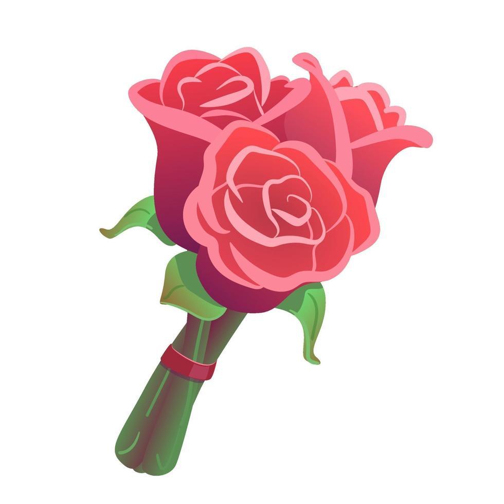 bouquet di tre rose su sfondo bianco isolato. clipart di fiori per data, celebrazione, giorno di San Valentino. illustrazione di regalo di nozze romantico. mazzo rosa, roseo con nastro rosso. vettore di disegno floreale.