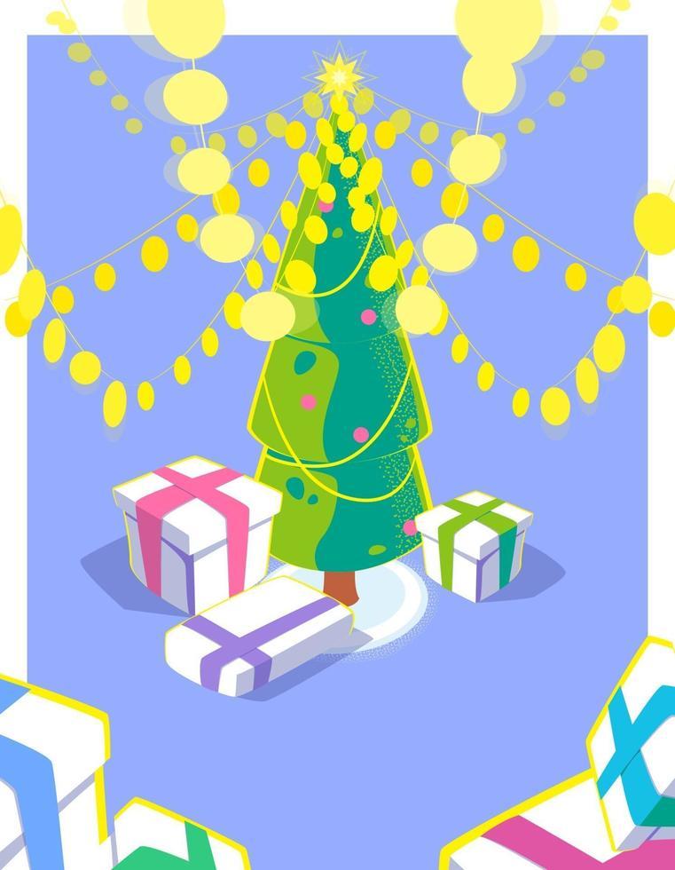 cartolina di Natale con effetto 3d. ghirlanda luminosa e scatole regalo sotto l'albero di natale. illustrazione di stagione delle vacanze con un sacco di luci gialle. design colorato stagione invernale. concetto piatto vettoriale. vettore