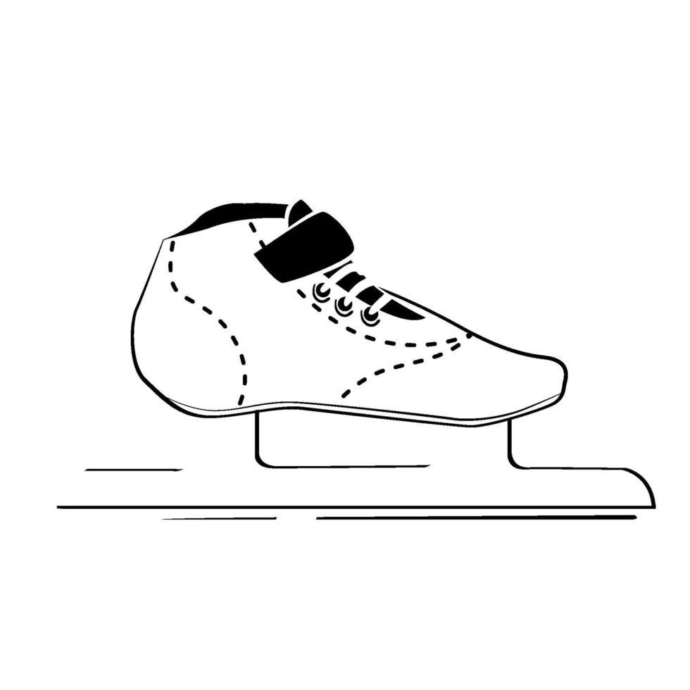 logo dell'icona di pattinaggio da corsa, attività invernale e sport, segno del pattino da ghiaccio del logo. disegno di assieme del simbolo di velocità, linea sottile stilizzata, schizzo isolato su priorità bassa bianca, vettore