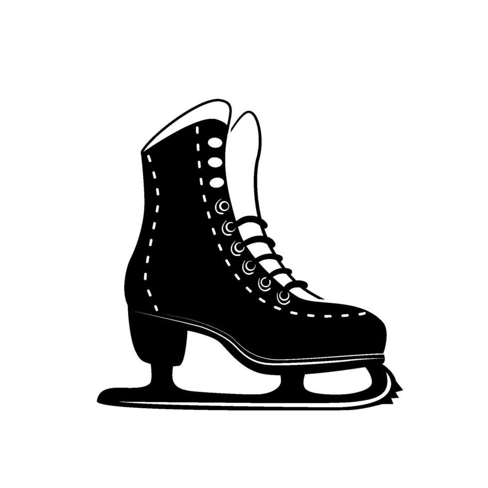 icona del glifo di pattinaggio di figura, attività invernale e sport, segno di pattinaggio su ghiaccio con logo nero, modello solido isolato su sfondo bianco, vettore