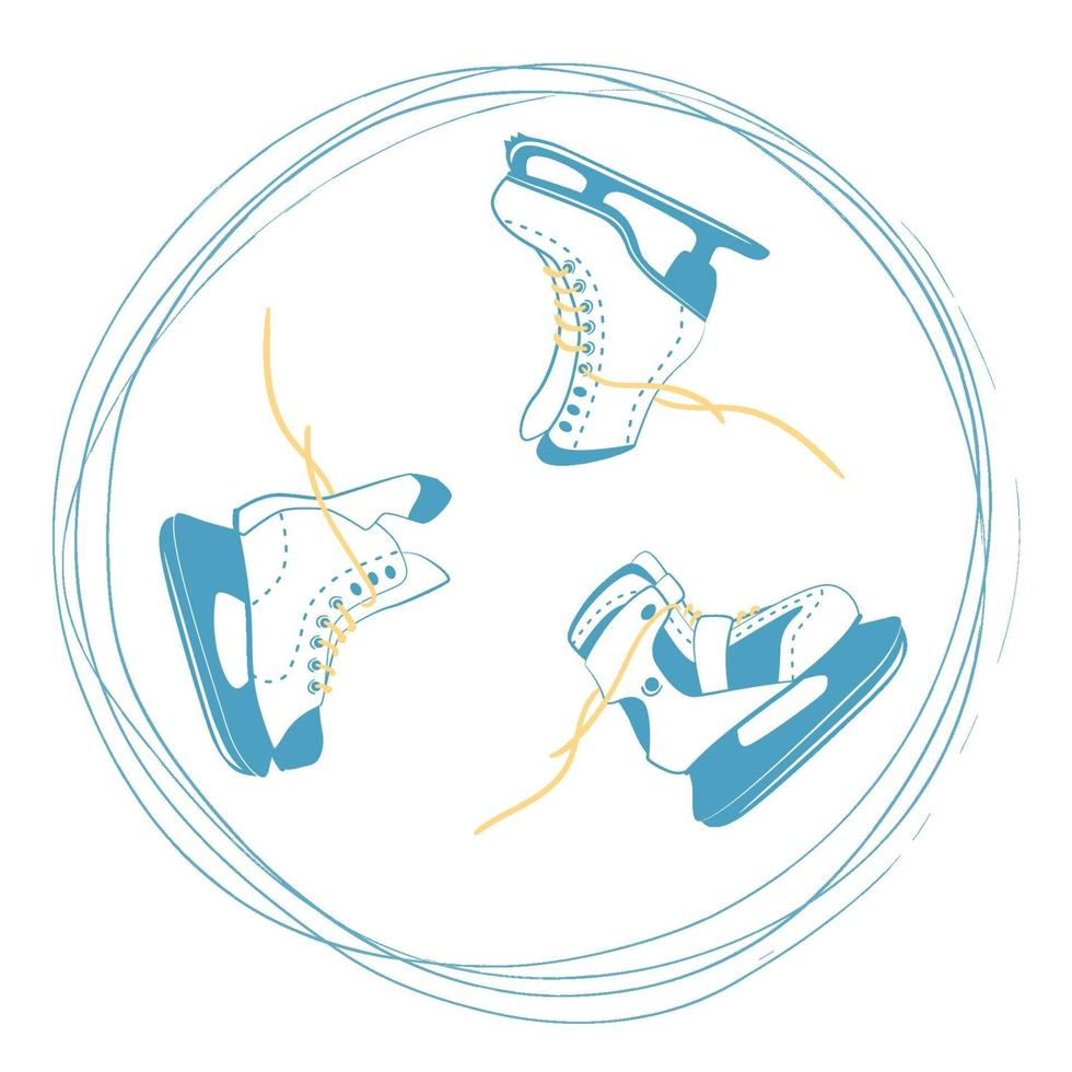 set di pattini da ghiaccio con lacci luminosi in un cerchio di solco. simbolo della pista di pattinaggio sul ghiaccio. logo dell'attrezzatura sportiva con linee graffiate. illustrazione vettoriale isolato sul retro bianco