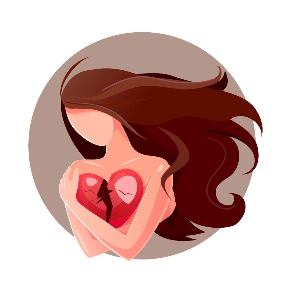 cartone animato da sola ragazza tiene il cuore spezzato su sfondo bianco, amore di separazione per il concept design. carta di vettore di simbolo di divorzio. illustrazione piatta isolata depressa. sensazione di bassa autostima, disprezzo per se stessi