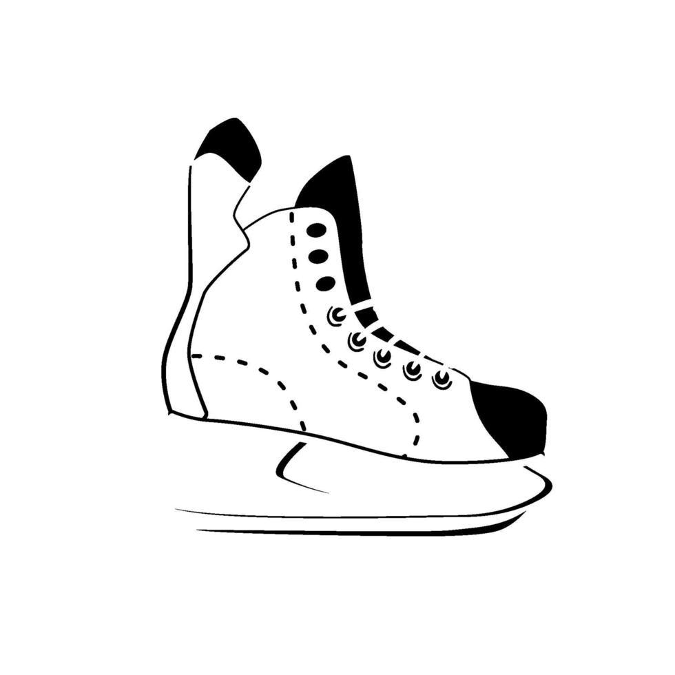 icona lineare di pattinaggio di hockey, attività invernale e sport, segno di pattino da ghiaccio del logo di contorno. linea sottile stilizzata, schizzo. isolato su sfondo bianco. vettore