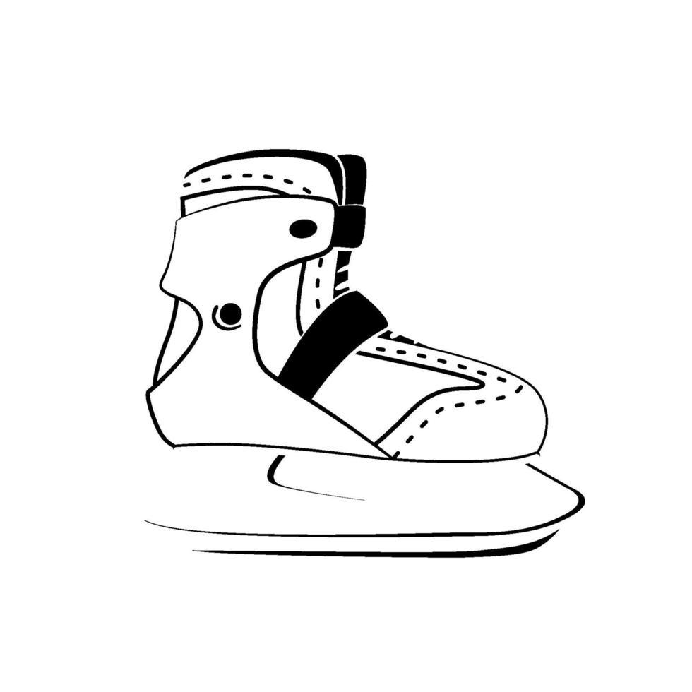 simbolo di pattinaggio fitness. tempo libero, hobby, design del logo degli sport invernali. icona di lineout moderno di pattinaggio su ghiaccio su sfondo bianco. pittogramma di linea sottile. illustrazione vettoriale isolato.