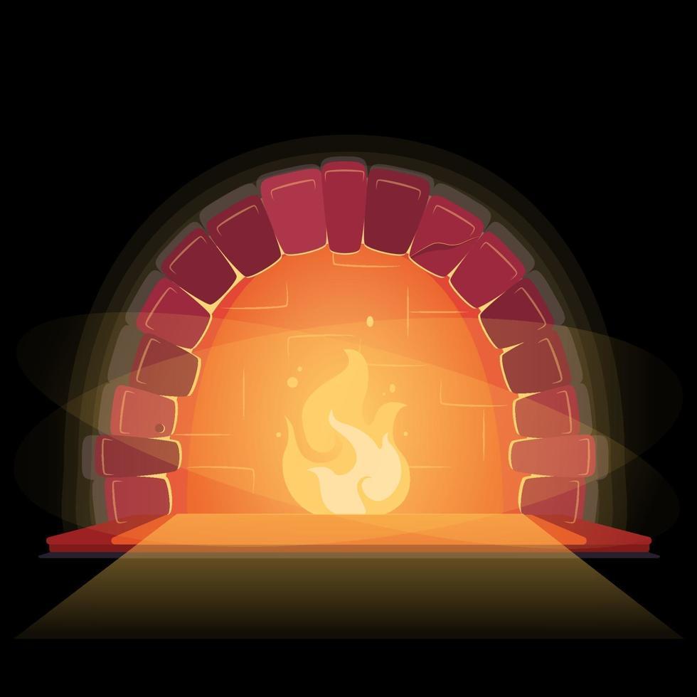 camino in bellissimo stile. elemento di disegno vettoriale. primo piano piatto su sfondo nero. arredamento interno casa casa. falò interno invernale. fiamma, fuoco, illustrazione. concetto di luogo accogliente e caldo relax. vettore