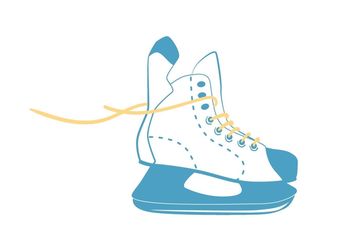 pattini da ghiaccio per hockey con lacci luminosi in stile linea. logo di attrezzature sportive. vista laterale. illustrazione vettoriale isolato su sfondo bianco.
