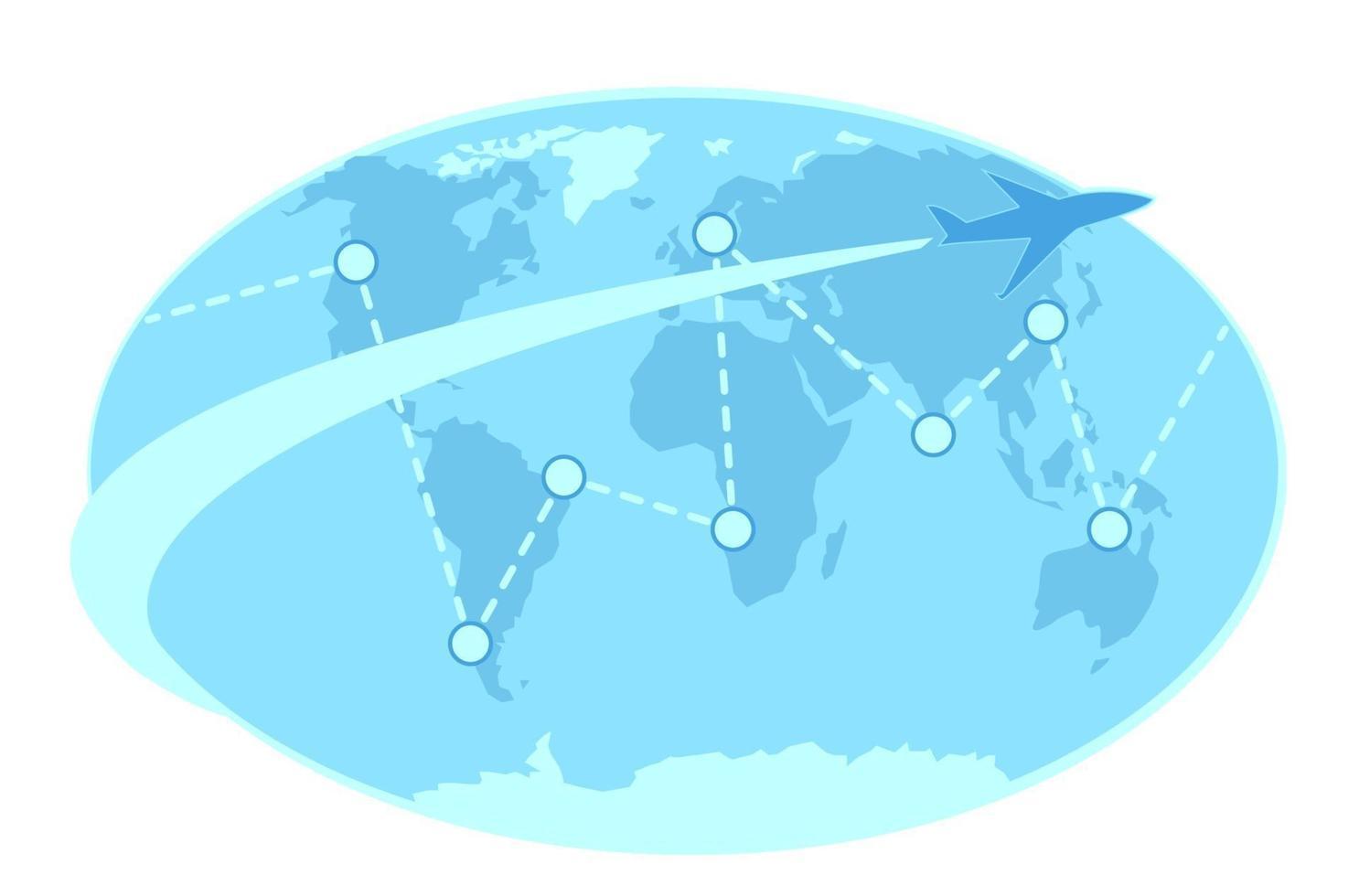 illustrazione della mappa del mondo di viaggio di volo. progettazione di viaggi d'affari. aereo piatto con segni di destinazione sul modello di paesi. elemento grafico del turismo. vacanza, concetto di viaggio isolato sfondo bianco. vettore