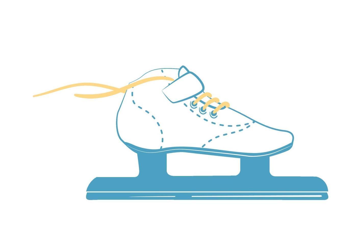 pattini da corsa sul ghiaccio con lacci luminosi. scarponi da pattinaggio di velocità in stile linea. logo di attrezzature sportive. vista laterale. illustrazione vettoriale isolato su sfondo bianco.
