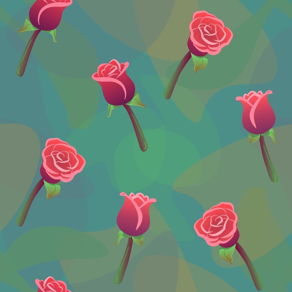 modello senza cuciture delle rose rosse con sfondo di gocce di colore verde. amore, romantico, ornamento floreale. vettore di natura matrimonio ripetendo stampa. carta da parati floreale, trama tessile moda. effetto luce acquerello